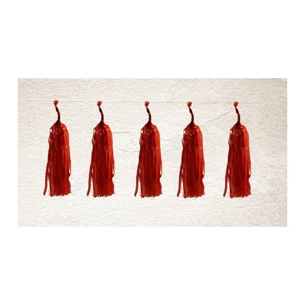 Tassel papier rouge poche de 5 pompoms