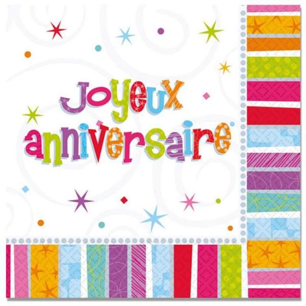 16 serviettes Joyeux anniversaire 32.7 CM