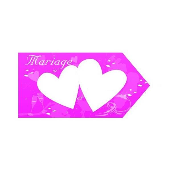 1 fleche indication mariage rose fuschia 20*40 2 faces