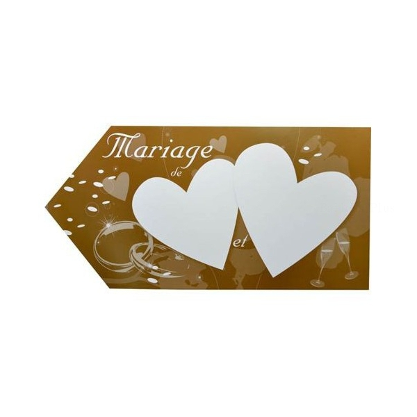 1 fleche indication mariage chocolat 20*40 2 faces