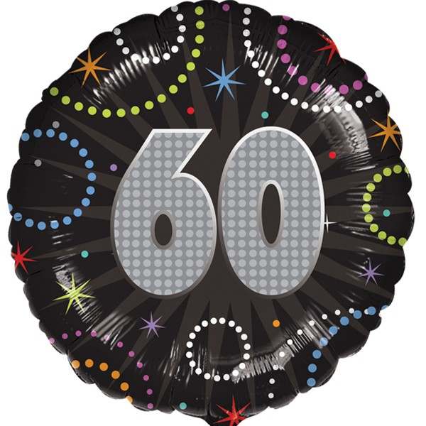 60 anniversaire time to party holographique ballon mylar 45cm