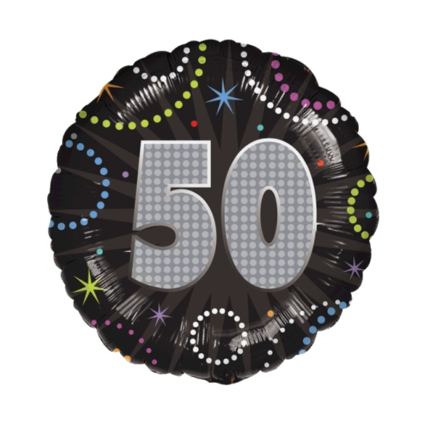50 anniversaire time to party holographique ballon mylar
