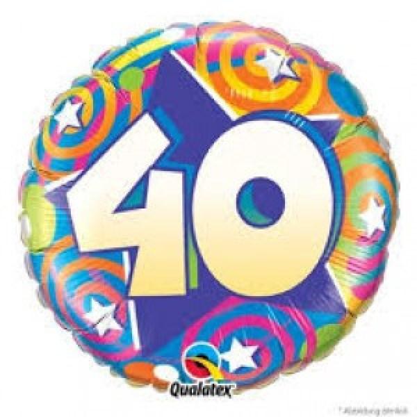 Ballon métal 45 cm diamètre swirls 40 anniversaire
