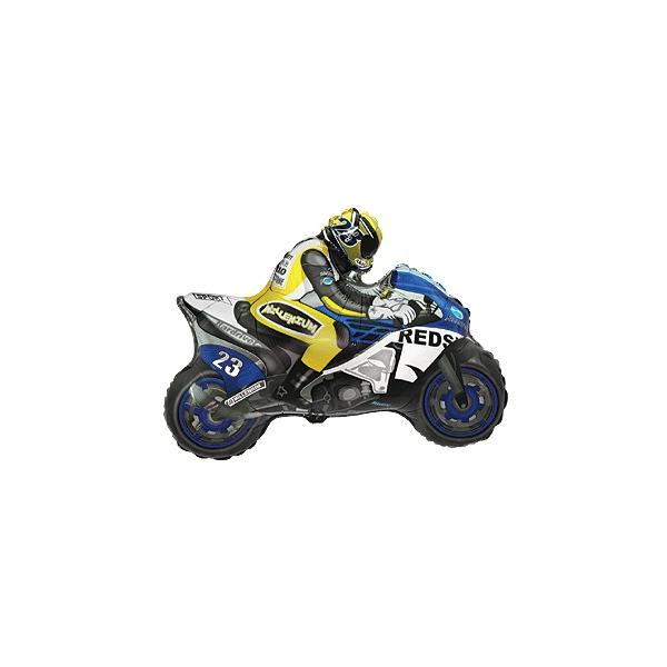 moto bleu mylar 23 cm environ
