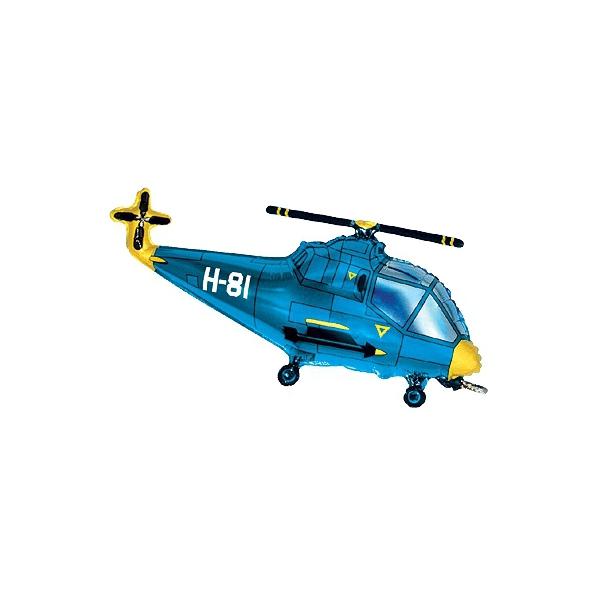 helicopter bleu forme 23cm (gonflage air)