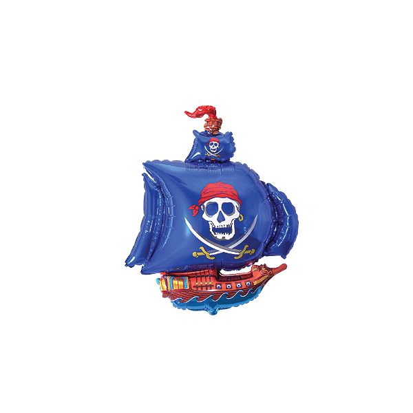 mini Bateau pirate bleu ballon mylar
